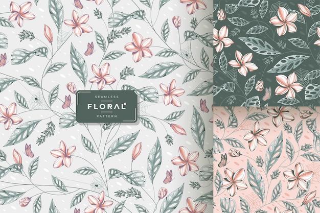 手描きのヴィンテージ美しい花のシームレスなパターン