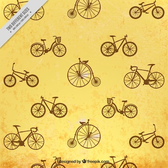 Hand drawn vintage bicycles background