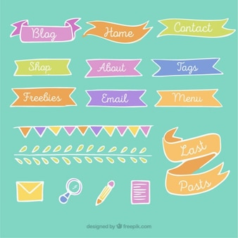 Hand drawn vintage blog elements with ribbons