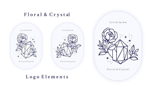 Hand drawn vintage blue botanical rose flower logo template, crystal, gem, and feminine beauty brand element collection