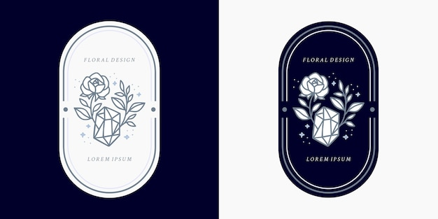 Hand drawn vintage blue crystal, gems, leaf, rose flower logo template, and feminine beauty brand element