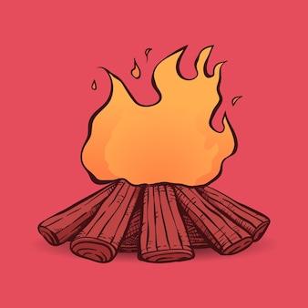 Hand drawn vintage bonfire illustration