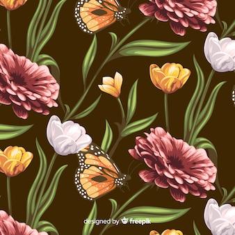 Hand drawn vintage botanical background