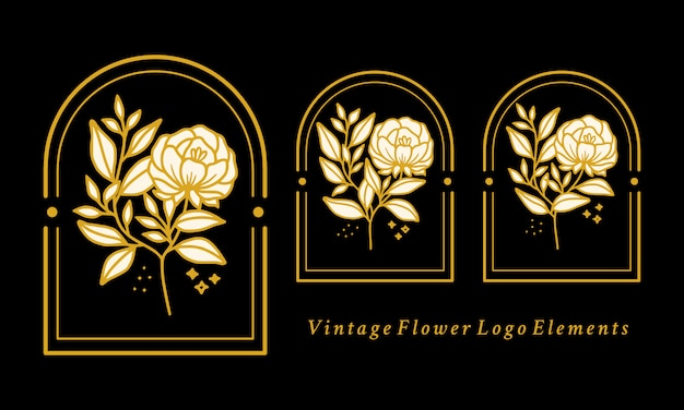 Hand drawn vintage botanical peony flower logo element collection