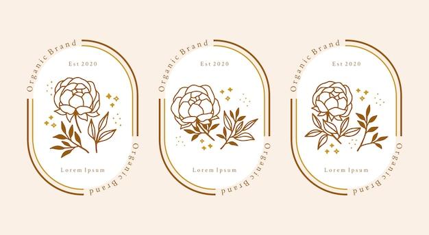 손으로 그린 빈티지 식물 모란 꽃 로고 요소 컬렉션