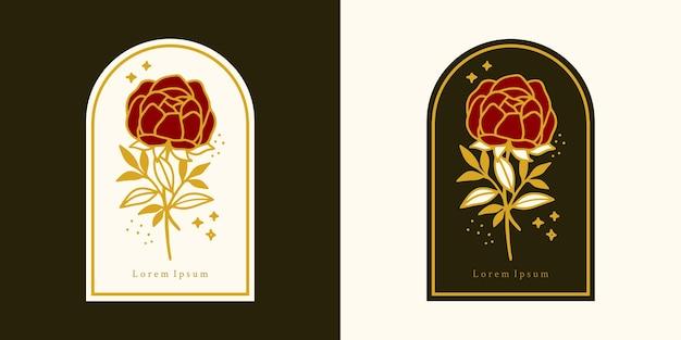 Ручной обращается винтажный ботанический логотип розы и элемент бренда женской красоты