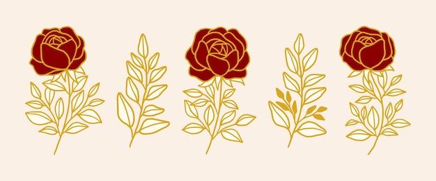 手描きのヴィンテージ植物のバラの花のロゴ要素