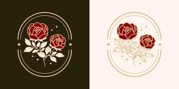 手描きのヴィンテージ植物のバラの花のロゴのテンプレートとフェミニンな美しさのブランド要素コレクション