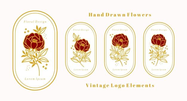 Нарисованный рукой винтажный шаблон логотипа цветка ботанической розы и коллекция элементов бренда женской красоты