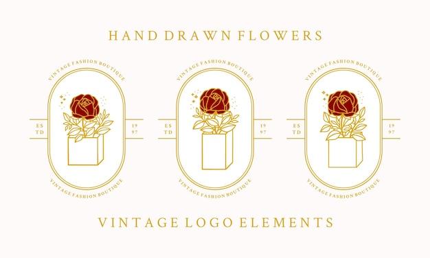 손으로 그린 빈티지 식물 장미 꽃 로고 템플릿 및 여성 뷰티 브랜드 요소 컬렉션
