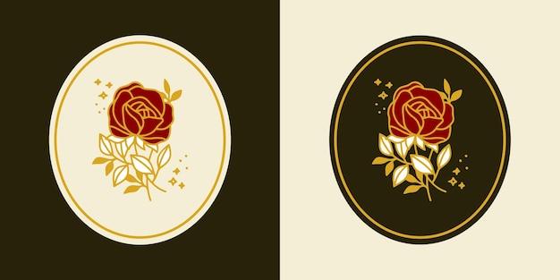 手描きのヴィンテージ植物のバラの花のロゴのテンプレートとフェミニンな美しさのブランド要素セット