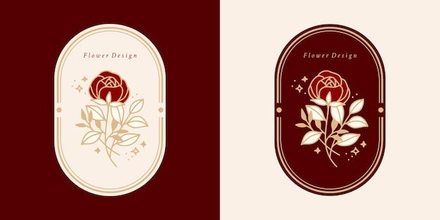 손으로 그린 빈티지 식물 장미 꽃 로고 템플릿 및 여성 뷰티 브랜드 요소 세트