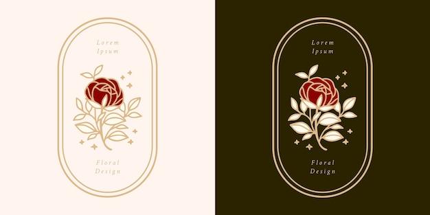 Нарисованный рукой винтажный шаблон логотипа цветка ботанической розы и набор элементов бренда женской красоты