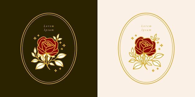 Hand drawn vintage botanical rose flower logo template and feminine beauty brand element set