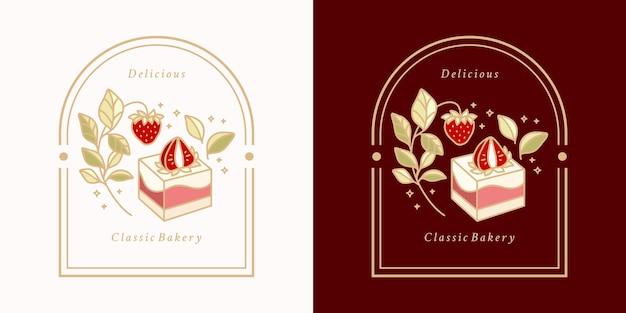 Hand drawn vintage cake labels set
