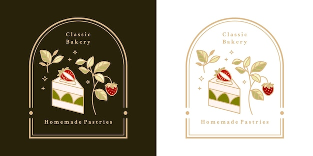 Hand drawn vintage cake, pastry, bakery logo elements with frame