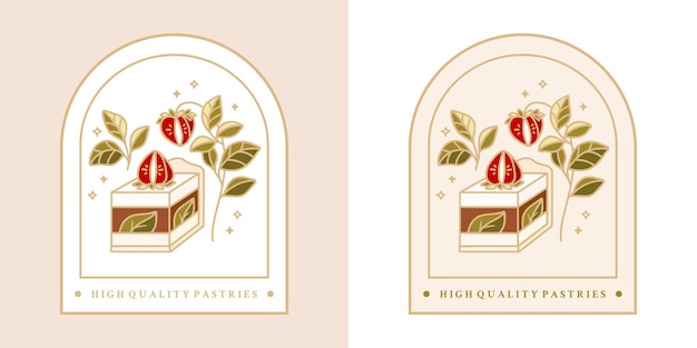 Hand drawn vintage cake, pastry, bakery logo with strawberry, leaf branch and frame
