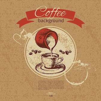 손으로 그린 빈티지 커피 배경입니다. 레스토랑, 카페, 바, 다방 메뉴