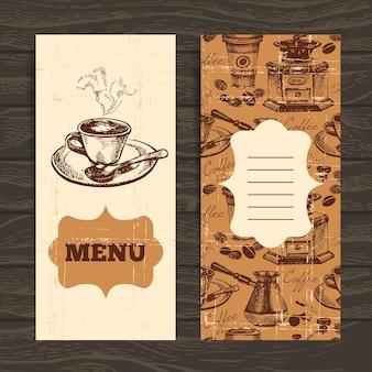 손으로 그린 빈티지 커피 배경. 레스토랑, 카페, 바, 다방 메뉴