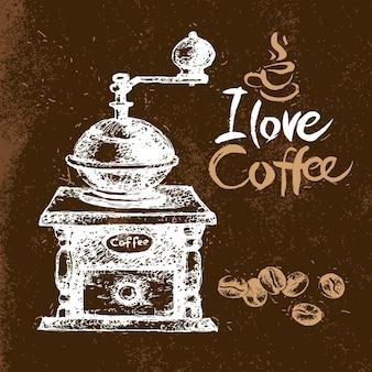 손으로 그린 빈티지 커피 배경입니다. 스케치 벡터 일러스트 레이 션. 메뉴 디자인. 타이포그래피 포스터