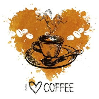Ручной обращается старинный кофе фон с всплеск акварель сердце и эскиз иллюстрации