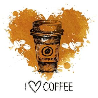 Печатьhand drawn vintage coffee background with splash watercolor heart and sketch illustration