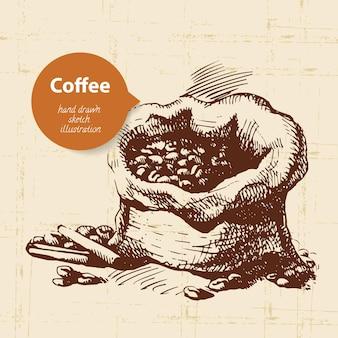 手描きのビンテージコーヒーの背景