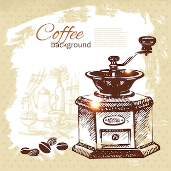 Hand drawn vintage coffee background Premium Vector