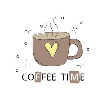 手描きのヴィンテージコーヒーカップ。スケッチスタイル。ベクトルイラスト。 tシャツプリント。ポスター。ロゴ