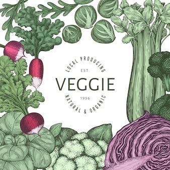 Ручной обращается винтажный цветной дизайн овощей. шаблон органических свежих продуктов.