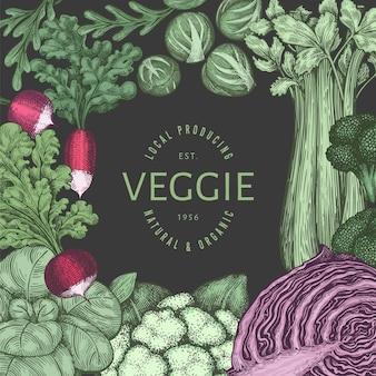 Ручной обращается винтажный цветной дизайн овощей. органические свежие продукты вектор баннер шаблон. ретро овощной фон. традиционные ботанические иллюстрации на темном фоне.