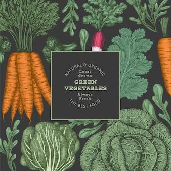 손으로 그린 빈티지 색상 야채 디자인. 유기농 신선한 음식 벡터 배너 템플릿입니다. 레트로 야채 배경입니다. 어두운 배경에 전통적인 식물 삽화입니다.