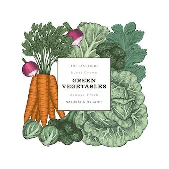 Рисованной винтажный цветной дизайн овощей. органические свежие продукты.