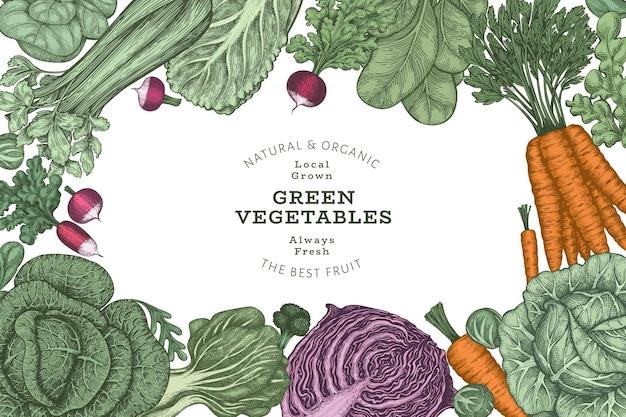 Рисованной винтажный цветной дизайн овощей.