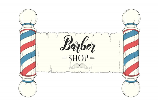 Hand drawn vintage colored signboard with classic barber shop pole and hand made lettering.