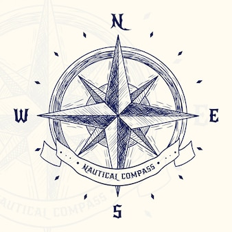 Hand drawn vintage compass