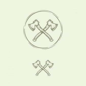 Hand drawn vintage cross axe