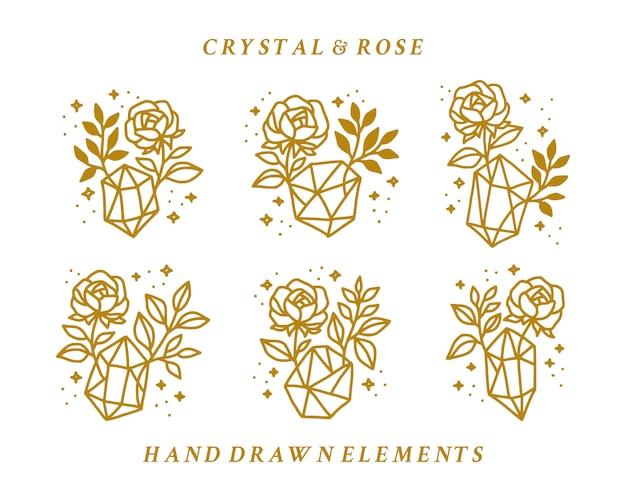 손으로 그린 빈티지 크리스탈과 골드 장미 꽃 로고 요소