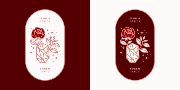 Нарисованный рукой винтажный кристалл, драгоценные камни, лист, логотип цветка розы и элемент бренда женской красоты