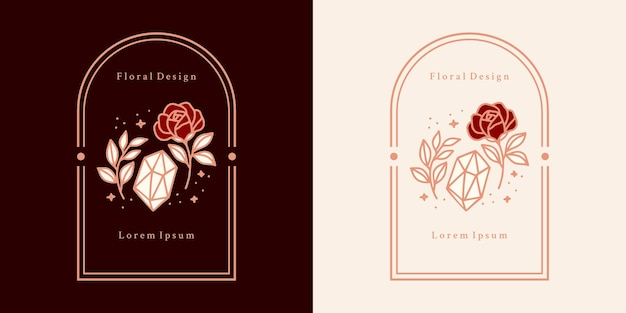 Hand drawn vintage crystal, gems, leaf, rose flower logo, and feminine beauty brand element Premium Vector