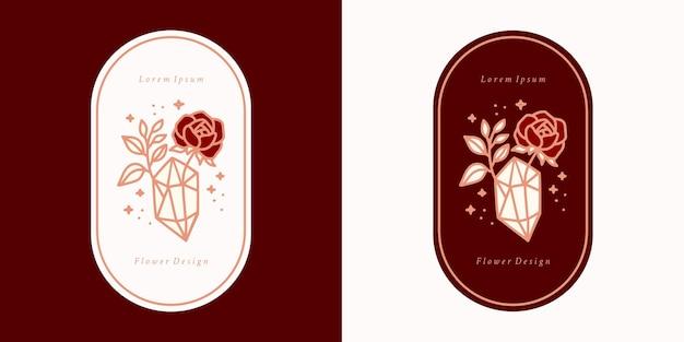 Hand drawn vintage crystal, gems, leaf, rose flower logo template, and feminine beauty brand element