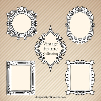 Hand drawn vintage decorative frames