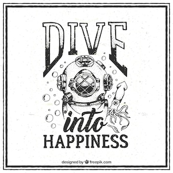 Hand drawn vintage diving quote