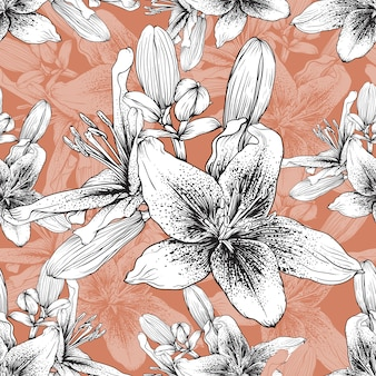 Hand drawn vintage floral background