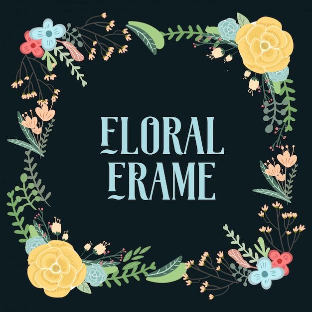 Hand drawn vintage floral element cards for wedding invitation.