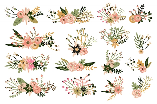 Hand drawn vintage floral elements and bouquets