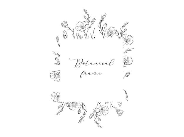 ロゴの結婚式の招待状の手描きのヴィンテージ花フレームは、日付を保存します