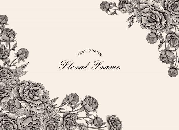 手描きのビンテージ花のフレーム