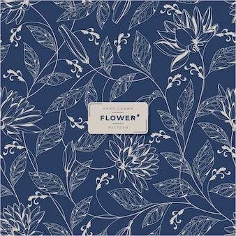 Hand drawn vintage flower pattern