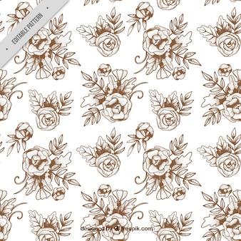 Hand-drawn vintage flower pattern
